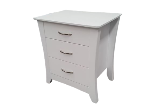 Country 3 Drawer White Bedside Table