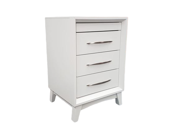 Gita 4 Drawer White Bedside Table