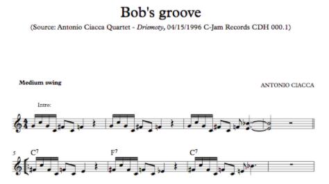 Bob's Groove (Lead Sheet)