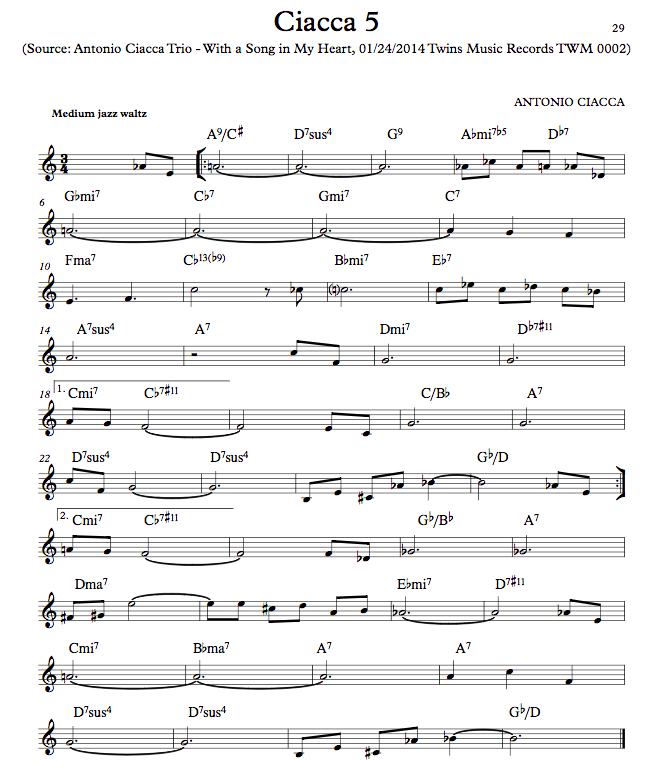 Ciacca 5 (Lead Sheet)