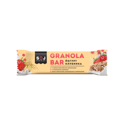 """Злаковый батончик """"GRANOLA BAR SOJ"""" со вкусом йогурта и клубники 40 г."""