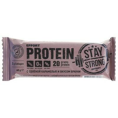 Протеиновый батончик Effort Protein, соленая карамель со вкусом брауни, 60 г.