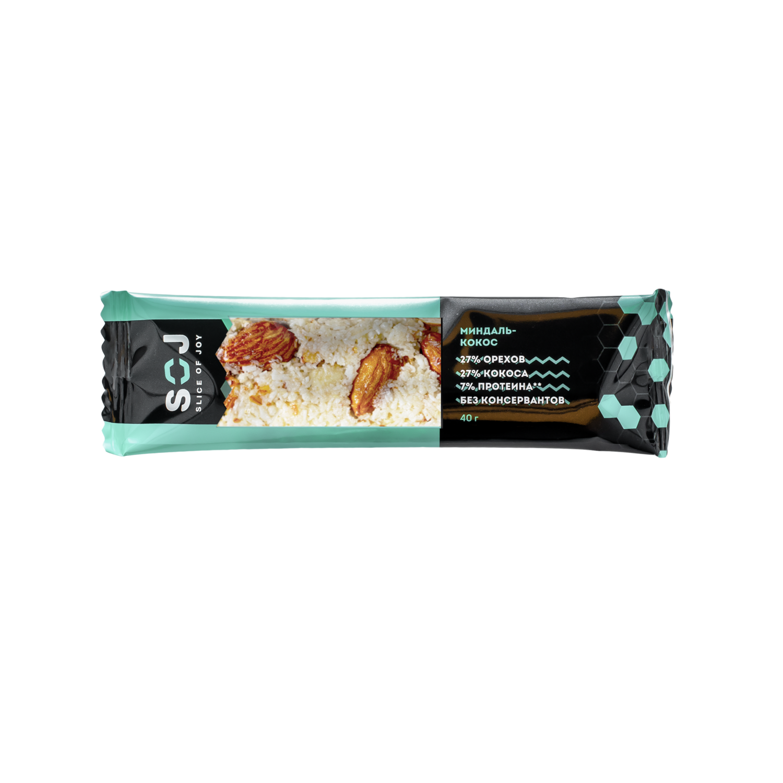 """Ореховый батончик SOJ с кокосом и ванильно-сливочный вкусом """"МИНДАЛЬ-КОКОС"""" 40г"""