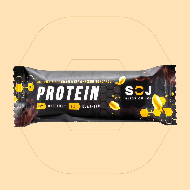 "Протеиновый батончик ""Protein SOJ"" с арахисом 50г"