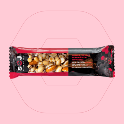 Ореховый батончик SOJ со вкусом Айриш-Крим «Арахис-миндаль-горький бельгийский шоколад»