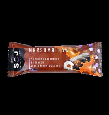 Батончик маршмеллоу SOJ с соленой карамелью в темном шоколаде 30 гр.