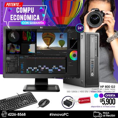 HP 800 G2 Core i7 de 4a Gen. 16Gb de RAM con Video, SSD y HDD