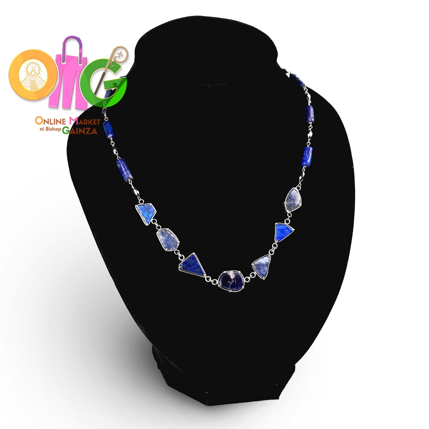 Andre Gemstone Gallery - Lapis Lazuli and Haematite Necklace in Silver