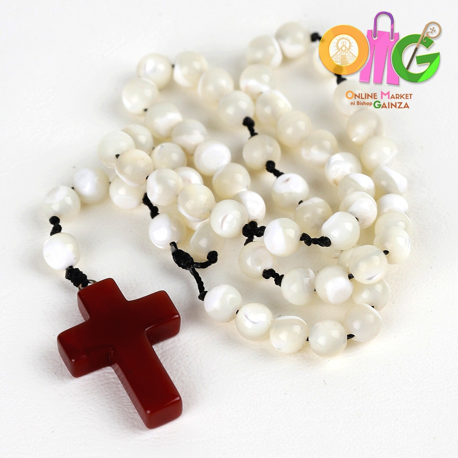 Andre Gemstone Gallery - Mother Pearl with Fire Agate Cross Rosary
