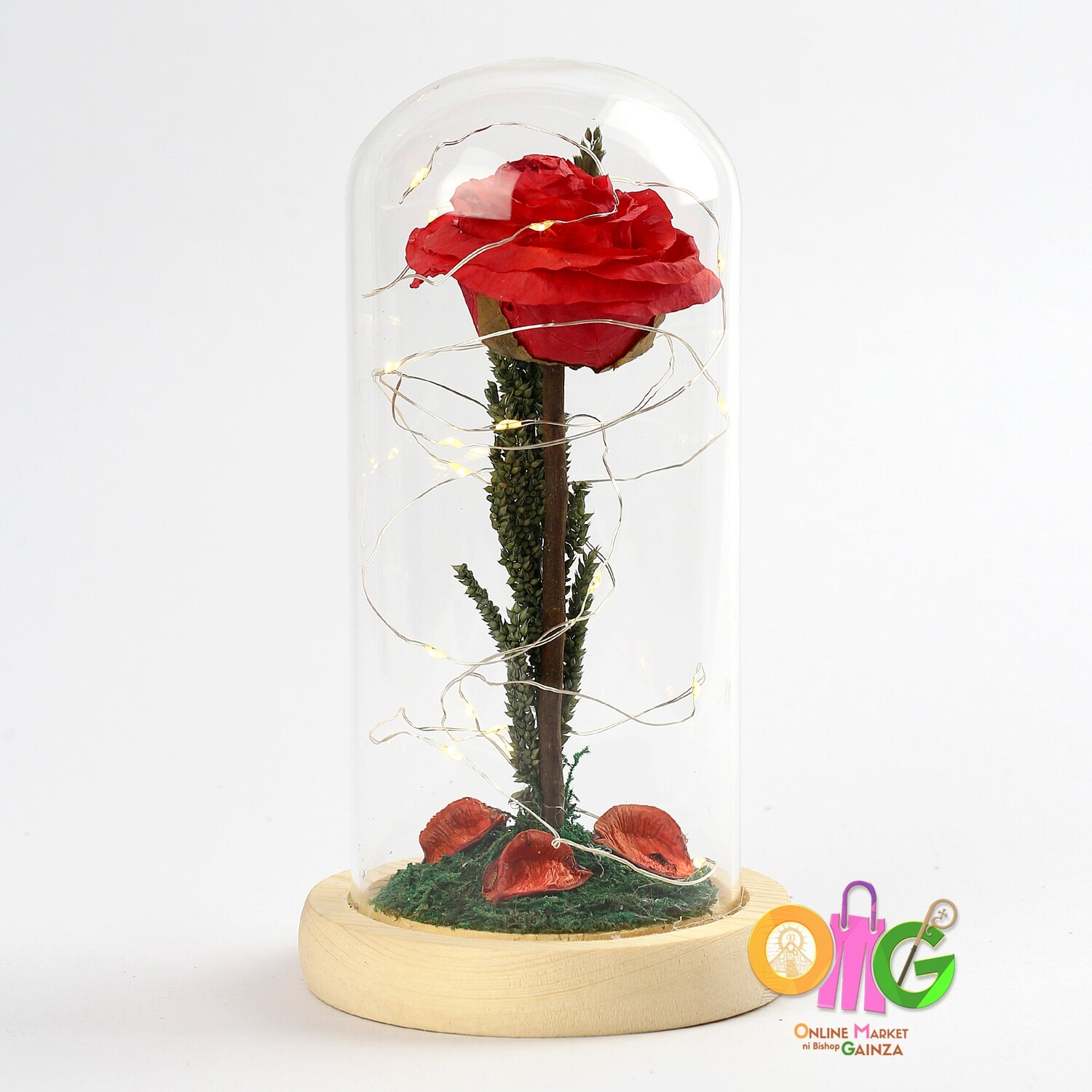 Cahs Nostalgic Petals Flower Shop - Glass Dome (Beauty and the Beast Inspired)