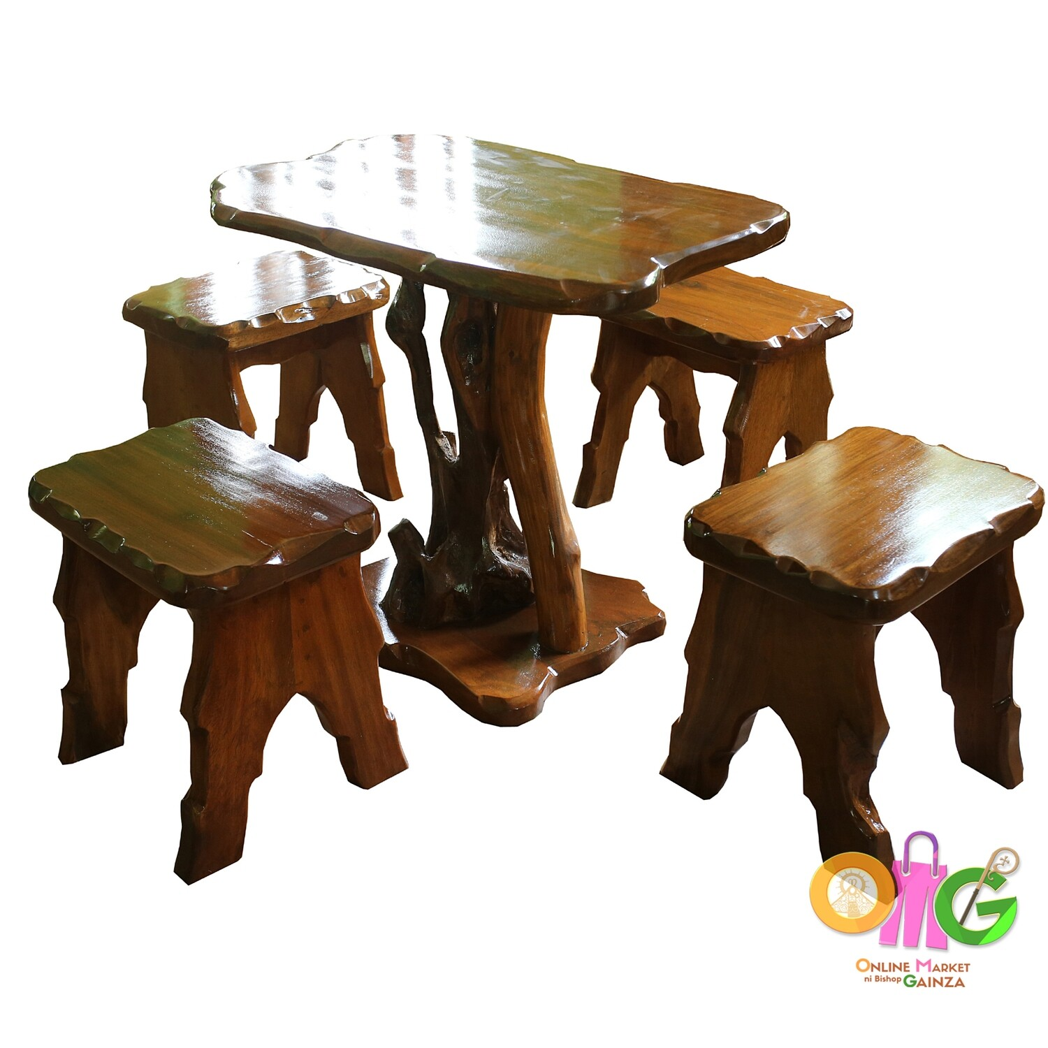 Crazy Cut Woodcraft - Coffee Table with 4 Chairs