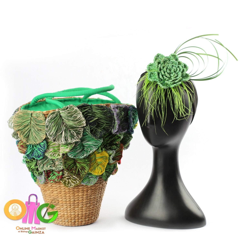 HGQ Handicrafts - Green Fascinator & Clutch