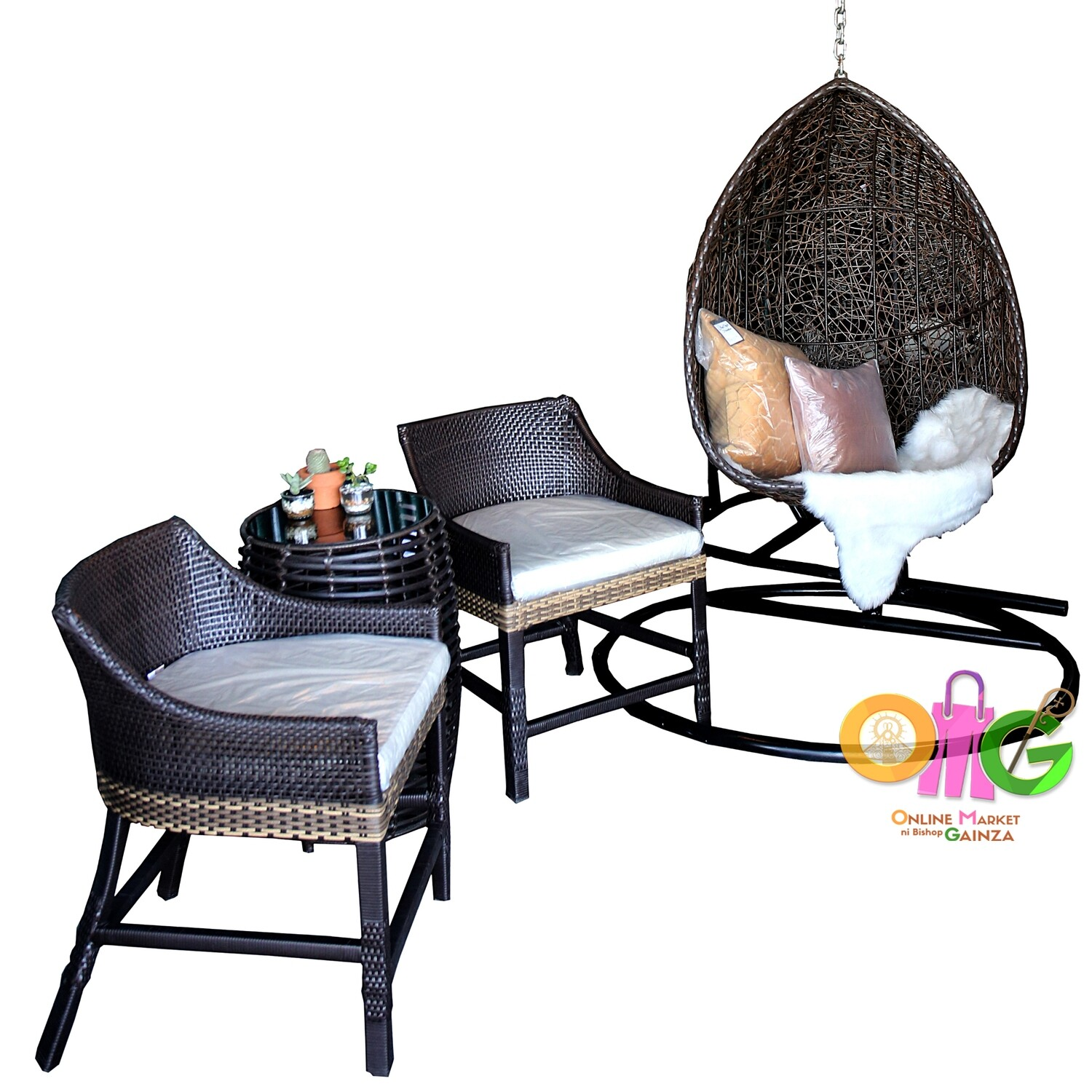 Joystyle Furniture - Lily Set (2 Chairs and a Table) with Swing