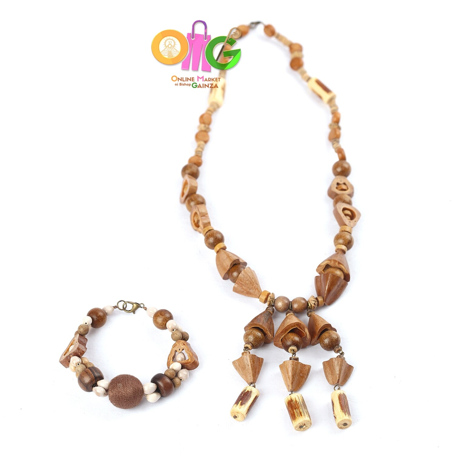 Mom Ofels Print & Crafts - 1 Necklace with Bracelet Set (Wood with Pili Shell)