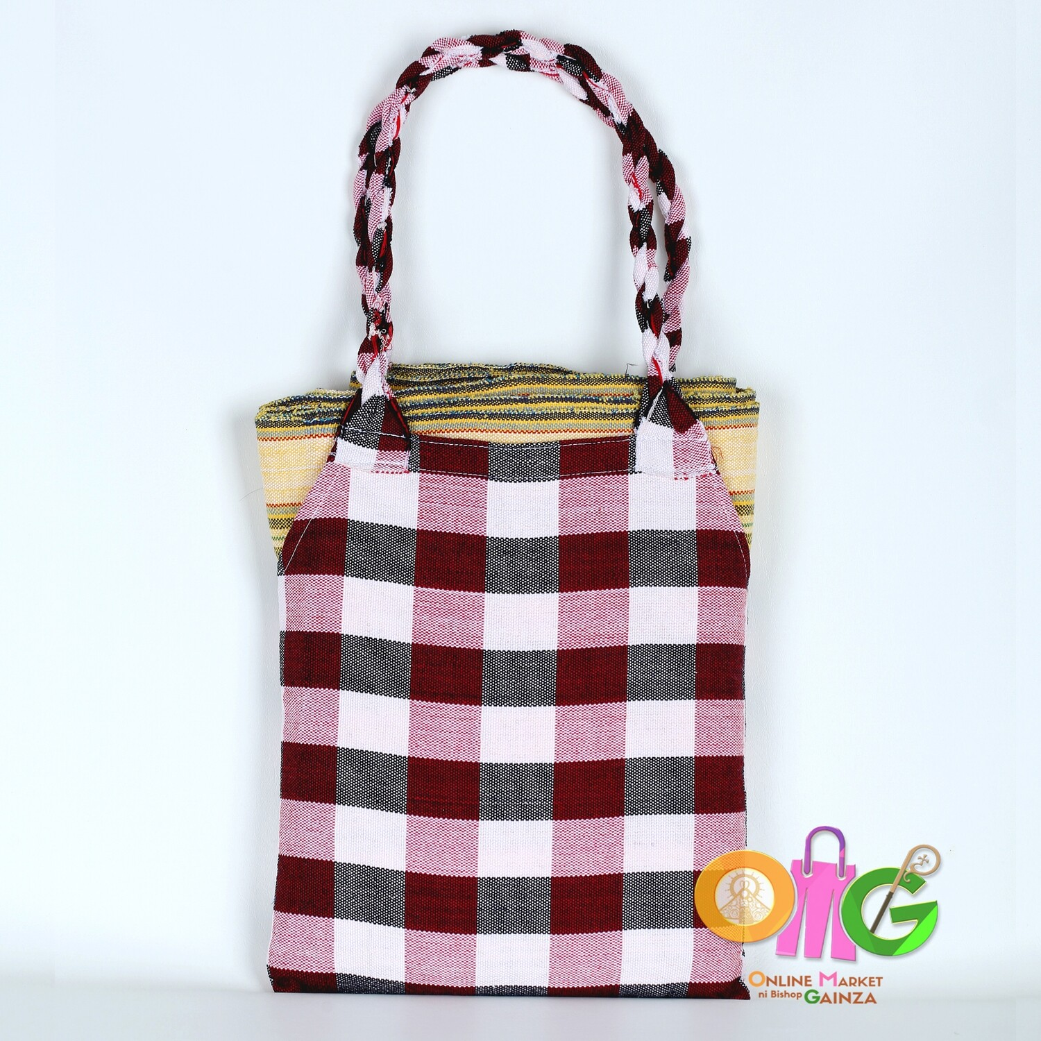 Luz Loom Wearing Services - Maroon Checkered Bag & Yellow Blanket