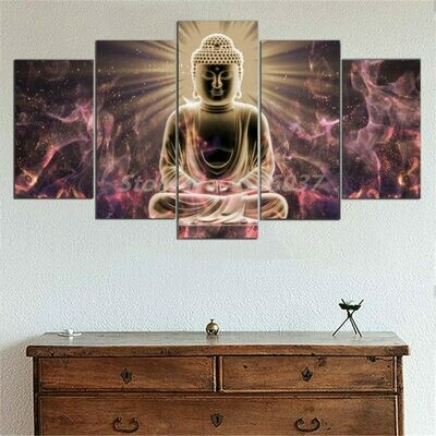 Abstract Buddha Buddhism - 5 Panel Canvas Print Wall Art Set