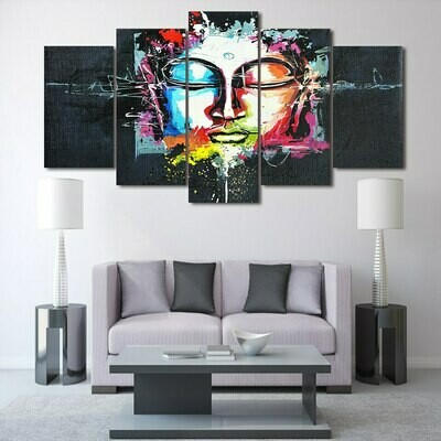Abstract Colorful Buddha - 5 Panel Canvas Print Wall Art Set