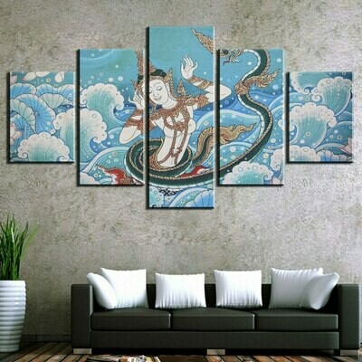 Abstract Dragon Buddha - 5 Panel Canvas Print Wall Art Set