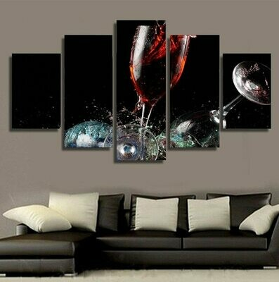 Broken Wine Glass - 5 Panel Canvas Print Wall Art Set