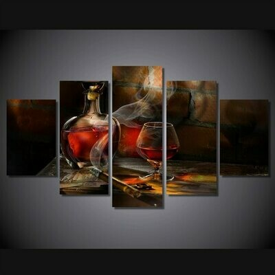 Cigarettes And Wine Hd - 5 Panel Canvas Print Wall Art Set