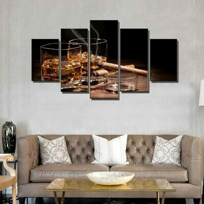 Cigars Wine - 5 Panel Canvas Print Wall Art Set