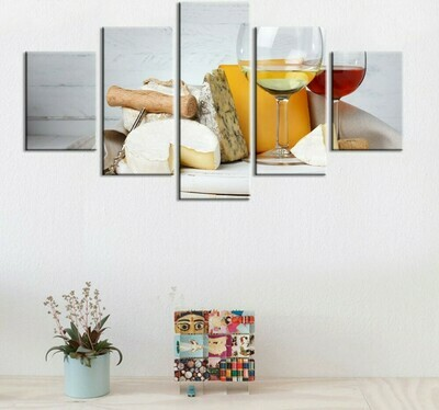 Blue Cheese And Wine - 5 Panel Canvas Print Wall Art Set