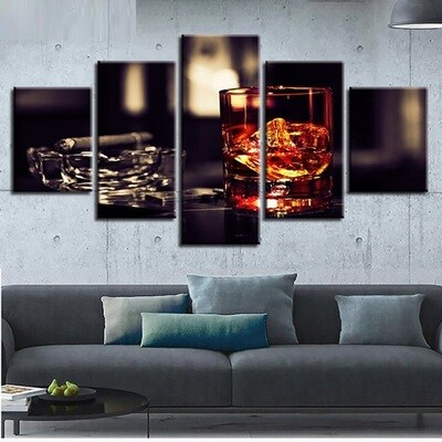 Cigarettes Wine Glass - 5 Panel Canvas Print Wall Art Set