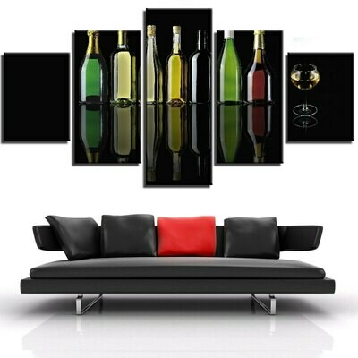 Beer Wine Bottles - 5 Panel Canvas Print Wall Art Set
