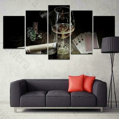 Cigarette Wine Glass Poker Casino - 5 Panel Canvas Print Wall Art Set
