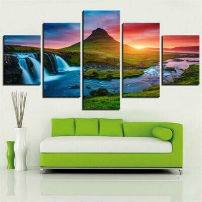 Beautiful Iceland Waterfall - 5 Panel Canvas Print Wall Art Set