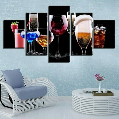 Color Glasses Cocktail - 5 Panel Canvas Print Wall Art Set