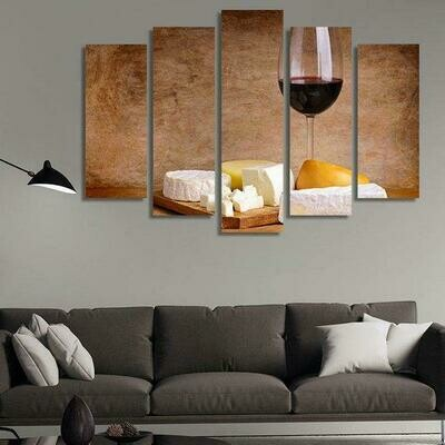 Cake And Wine - 5 Panel Canvas Print Wall Art Set