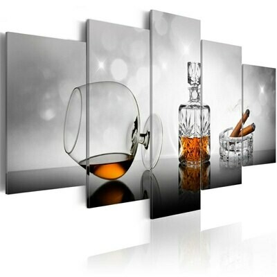 Cigars Wine Goblet - 5 Panel Canvas Print Wall Art Set