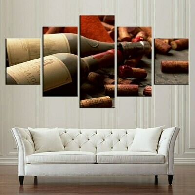 Grape Red Wine Cork - 5 Panel Canvas Print Wall Art Set
