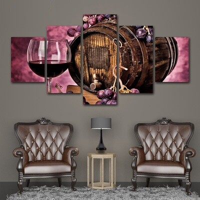 Grapes Wine Racks - 5 Panel Canvas Print Wall Art Set