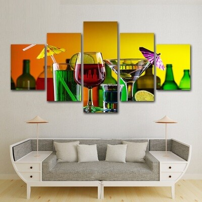 Cocktail Wine Party - 5 Panel Canvas Print Wall Art Set