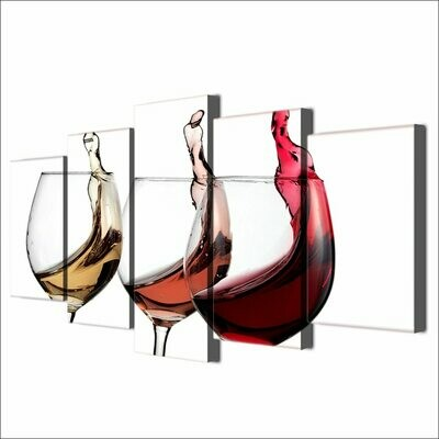 Delicate Wine Glasses - 5 Panel Canvas Print Wall Art Set