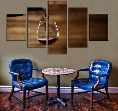 Enjoy Wine - 5 Panel Canvas Print Wall Art Set
