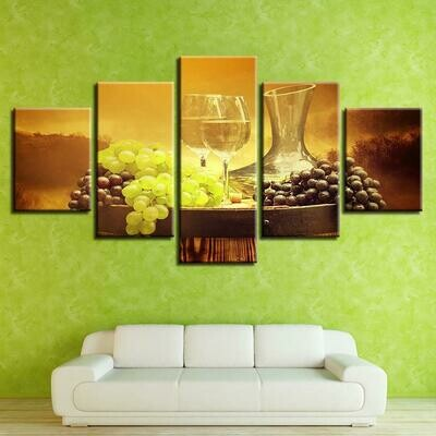 Grape Wine Glasses Harvest Season - 5 Panel Canvas Print Wall Art Set
