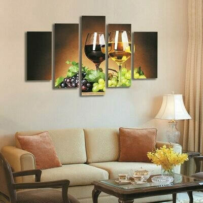Fruit Grape Wine - 5 Panel Canvas Print Wall Art Set