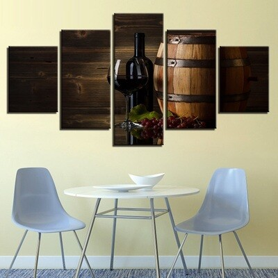 Grape Red Wine Glasses Oak - 5 Panel Canvas Print Wall Art Set