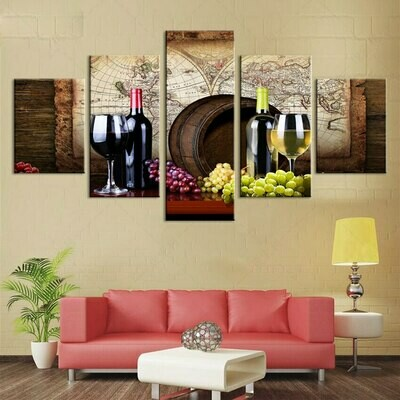 Grapes And Wines - 5 Panel Canvas Print Wall Art Set