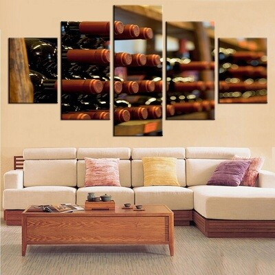 Hd Wine Cellar - 5 Panel Canvas Print Wall Art Set