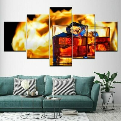 Ice Cubes Wine Glasses - 5 Panel Canvas Print Wall Art Set
