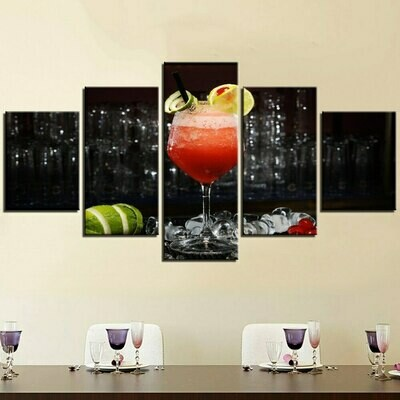 Lemon Wine Glasses - 5 Panel Canvas Print Wall Art Set