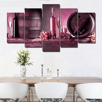 Purple Wine And Fruit - 5 Panel Canvas Print Wall Art Set