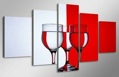Red And White Wine Glasses - 5 Panel Canvas Print Wall Art Set