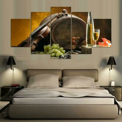 Green Grapes With Wine - 5 Panel Canvas Print Wall Art Set