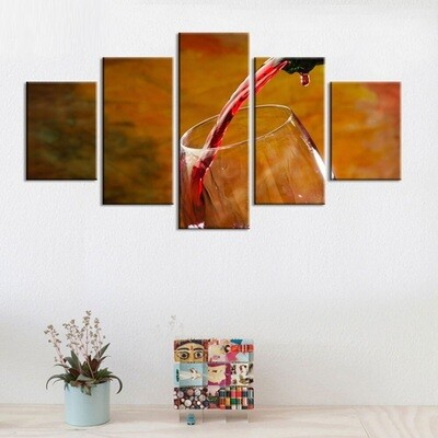 Pour Wine - 5 Panel Canvas Print Wall Art Set