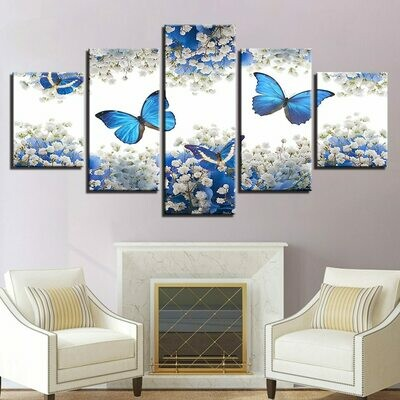 Blue Butterflies And White Gypsophila Paniculata - 5 Panel Canvas Print Wall Art Set